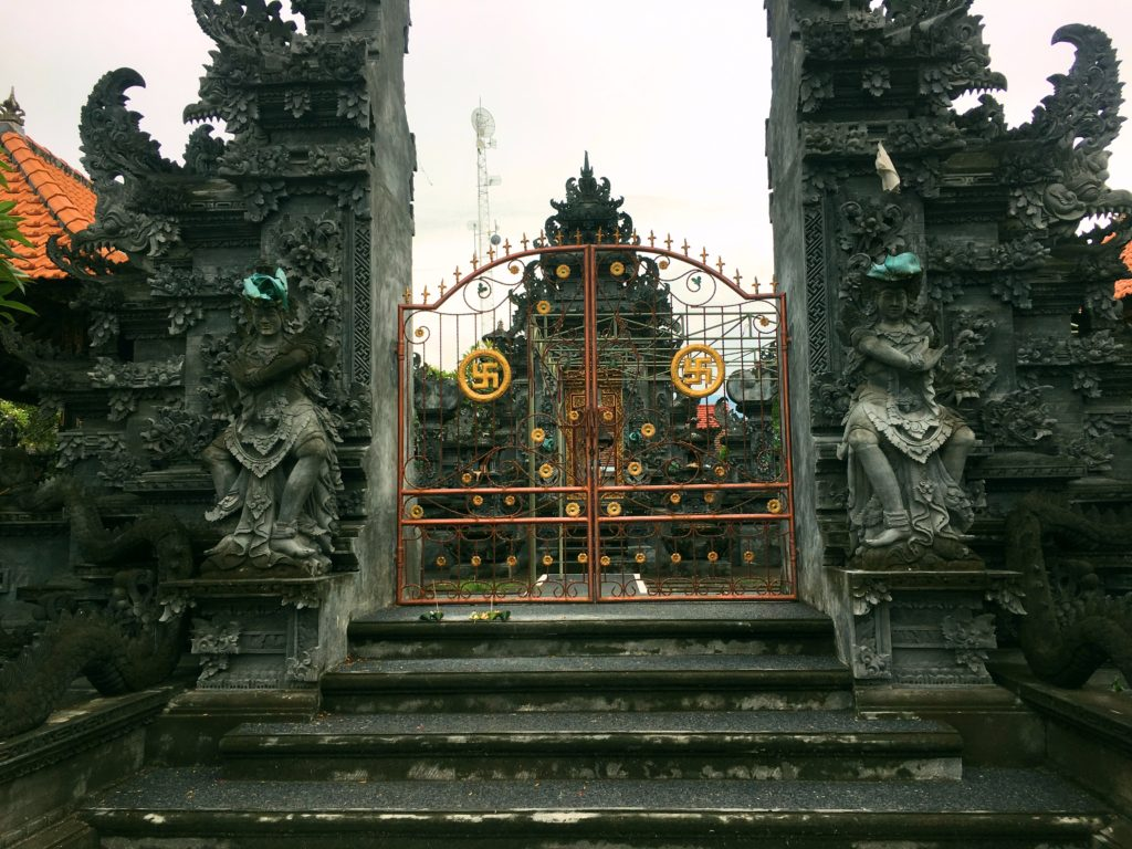 While Indonesia is the world's largest Moslem-majority country, Bali is primarily Hindu. And the swastika, it turns out, was a Hindu symbol many centuries before the Nazis adopted it. So notwithstanding its modern stigma you see swastikas all over Bali.