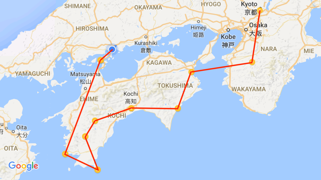 And this was the route we took, starting in Kyoto and working our way around Shikoku. It's worth noting that we didn't bike all of this; most days we would be in a van or a bus or train part of the way.