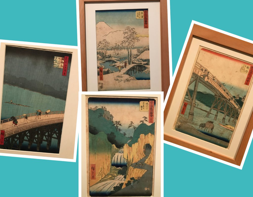 A temporary exhibit in the Museo de Zaragoza was work from a Japanese ukiyo-e artist, Utagawa Hiroshige. Mark took one look at my pictures and realized that this was the same guy whose exhibit we'd seen at the Boston Museum of Fine Arts in Nagoya. I'd been so annoyed about the absence of MFA pieces that I hadn't appreciated his work. This time I did.