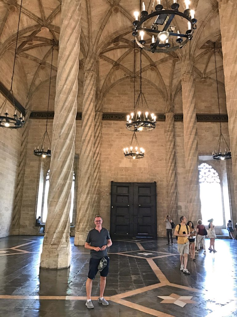 Mark in the old silk exchange, now a UNESCO World Heritage site