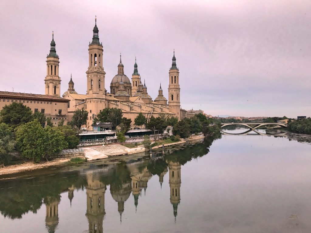 Zaragoza's Basilica of Our Lady of the Pillar from across the Ebro River