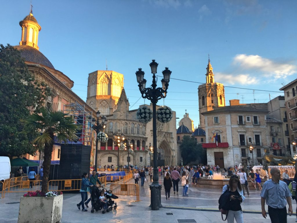 Valencia's old town in the evening