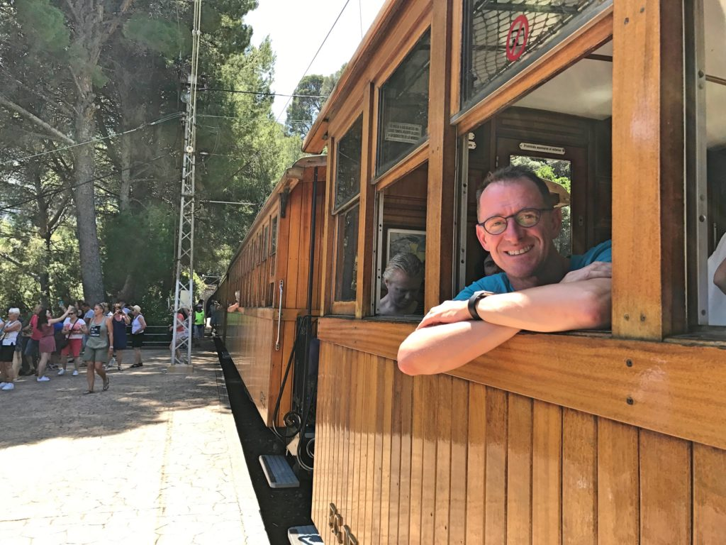 Mark in the old train that runs to Sóller from Palma, definitely a better way to travel than cars and planes