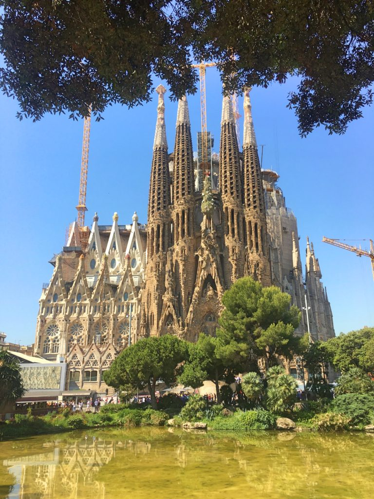 The western facade of La Sagrada Familia. Those old-looking spires are in fact pretty old; I'd bet they were there back in 1975 when I first came to Barcelona. It's changed a lot in those 42 years and apparently it's going to change a lot more in the next 10 years as they add six spires that will dwarf the ones already there.